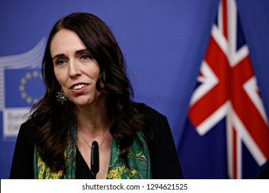 Brussels, Belgium. 25th January 2019.New Zealand's Prime Minister Jacinda Ardern and European Commission President Jean-Claude Juncker hold a news conference.