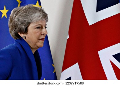 Brussels, Belgium. 25th Nov 2018. British Prime Minister Theresa May speaks during a press conference following the extraordinary EU leaders summit to finalise and formalise the Brexit agreement.