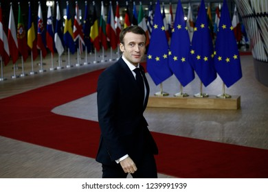 Brussels, Belgium. 25th Nov 2018. French President Emmanuel Macron arrives to attend in an extraordinary EU leaders summit to finalise and formalise the Brexit agreement.