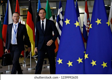 Brussels, Belgium. 25th Nov 2018. Prime Minister of Netherlands,  Mark Rutte arrives to attend in an extraordinary EU leaders summit to finalise and formalise the Brexit agreement.