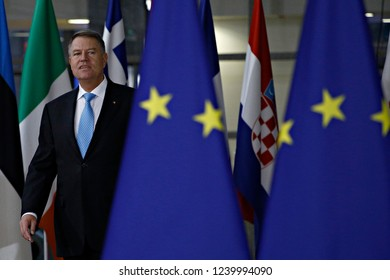 Brussels, Belgium. 25th Nov 2018. President of Romania, Klaus Iohannis arrives to attend in an extraordinary EU leaders summit to finalise and formalise the Brexit agreement.