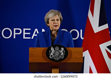 Brussels, Belgium. 25th Nov 2018. British Prime Minister Theresa May speaks during a press conference following the extraordinary EU leaders summit to finalise and formalise the Brexit agreement