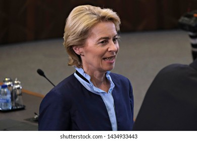 Brussels, Belgium. 26th June 2019. German Defense Minister Ursula von der Leyen  attends a NATO Defence Ministers meeting.