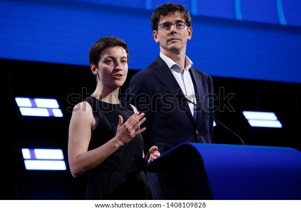 Brussels, Belgium. 26th May 2019. Greens group leading candidates for the European election Ska Keller and Bas Eickhout  speaks during the final estimation of the results of the EU Parliament election
