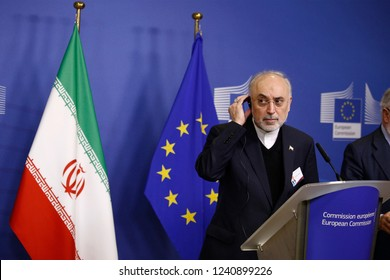 Brussels, Belgium. 26th November 2018.Ali Akbar Salehi, Head of the Atomic Energy Organisation of Iran gives a press conference on the EU-Iran High-Level Seminar on International Nuclear Cooperation