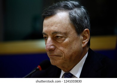 Brussels, Belgium. 26th November 2018. President of the European Central Bank, Mario Draghi delivers a speech at the European Parliament Committee on Economic and Monetary Affairs