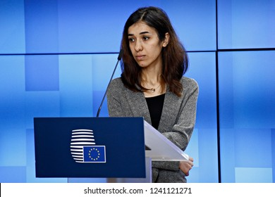 Brussels, Belgium. 26th November 2018. High Representative of the EU for Foreign Affairs Federica Mogherini, Nobel Peace Prize Laureates Nadia Murad and Denis Mukwege hold a joint press conference.