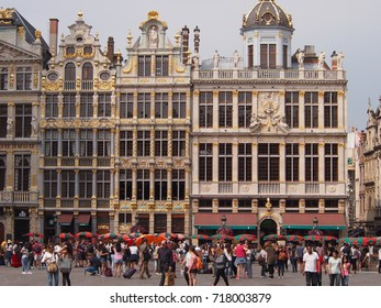 Brussels, Belgium - 27 August 2017: Famous Grand Place flooded with tourists in summer