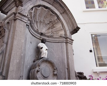 Brussels, Belgium - 27 August 2017: Manneken Pis sculpture