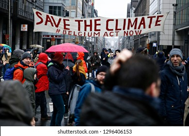 Brussels, Belgium. 27th January 2019.People take part in a march called 'Rise for Climate' .