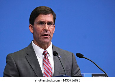 Brussels, Belgium. 27th June 2019. Acting US Secretary for Defense Mark Esper gives a press conference on the  results of the Nato Foreign ministers meeting at NATO headquarters.