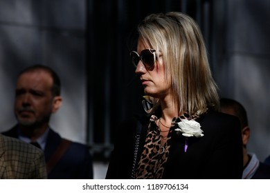 Brussels, Belgium. 27th Sep. 2018. Relaives and parents of late British Labour MP Jo Cox take part in the inauguration of a square named after Jo Cox, a British Labour MP who was killed in 2016