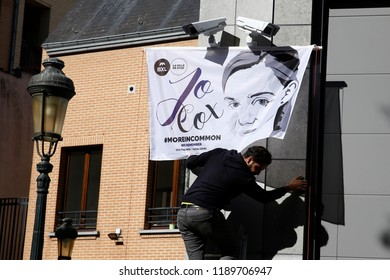Brussels, Belgium. 27th Sep. 2018. The name plate of Jo Cox square is unveiled during  the inauguration of a square named after Jo Cox, a British Labour MP who was killed in 2016