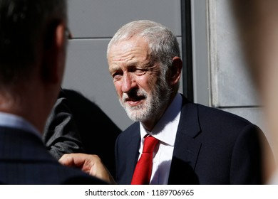 Brussels, Belgium. 27th Sep. 2018. British Labour Party leader Jeremy Corbyn takes part in the inauguration of a square named after Jo Cox, a British Labour MP who was killed in 2016