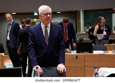 Brussels, Belgium, 28 May 2018. Minister of Foreign Affairs, Republic of Poland Jacek Czaputowicz  attends in an European Union Foreign Affairs Council meeting.