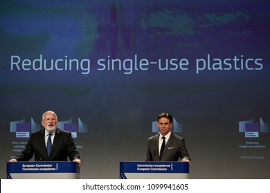 Brussels, Belgium, 28 May 2018.Press conference by Vice-President of EU Commission Jyrki KATAINEN  on Single use plastics proposal .