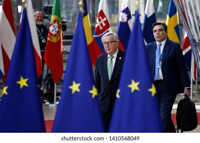 Brussels, Belgium. 28th May 2019.  President of the European Commission Jean-Claude Juncker arrives for a European Union (EU) summit at EU Headquarters.