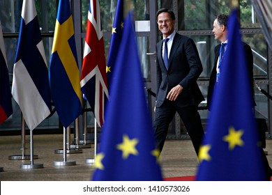 Brussels, Belgium. 28th May 2019. Prime Minister of Netherlands,  Mark Rutte arrives for a European Union (EU) summit at EU Headquarters.