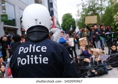 Brussels, Belgium. 28th May 2019. Riot police blocked the streets during a protest against the rise of far right and fascism.