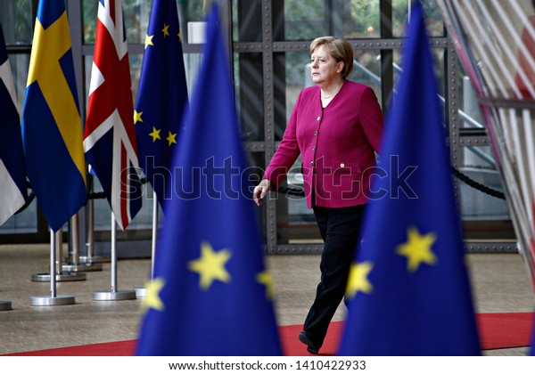 Brussels, Belgium. 28th May 2019.Angela Merkel, Chancellor of Germany arrives for a European Union (EU) summit at EU Headquarters.