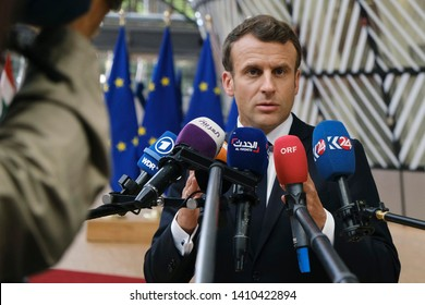 Brussels, Belgium. 28th May 2019.French President Emmanuel Macron arrives for a European Union (EU) summit at EU Headquarters.