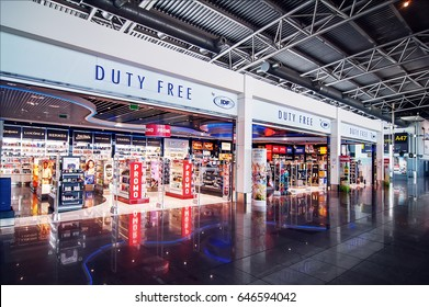 BRUSSELS, BELGIUM - 29 APRIL, 2017: Shopping area at Brussels  International Airport in Belgium. duty free zone