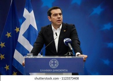 Brussels, Belgium. 29th June 2018. Greek Prime Minister Alexis Tsipras gives  a media conference at the conclusion of an EU summit.