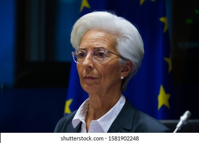 Brussels, Belgium. 2nd December 2019. European Central Bank (ECB) President Christine Lagarde arrives to testify before the European Parliament's Economic and Monetary Affairs Committee.