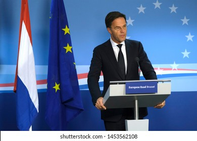Brussels, Belgium. 2nd Jul. 2019. Prime Minister of Netherlands,  Mark Rutte  speaks during a press conference following the EU leaders summit.