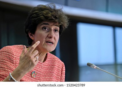 Brussels, Belgium. 2nd October 2019. European Commissioner designate for Internal Market Sylvie Goulard answers in questions in her hearing at the European Parliament.