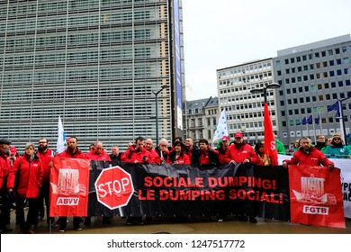 Brussels, Belgium. 3 Dec. 2018. Transport workers and truck drivers  representatives gathered at the Schuman roundabout demonstration against social dumping and unfair competition in road transport