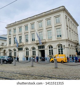 Brussels, Belgium - 30 May 2019: Magritte museum. Place Royale, Koningsplein.