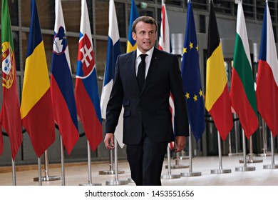Brussels, Belgium. 30th Jun. 2019. French President Emmanuel Macron arrives to attend in an extraordinary EU leaders summit.