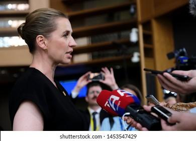 Brussels, Belgium. 30th June 2019.Prime Minister of Denmark, Mette Frederiksen arrives for a European Union (EU) summit at EU Headquarters.