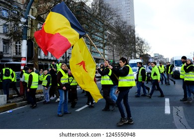 Brussels, Belgium. 30th November 2018. People take part in a protest march of the yellow vests  against the rising of the fuel and oil prices.