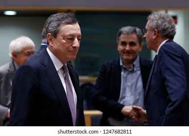 Brussels, Belgium. 3rd Dec 2018. President of the European Central Bank, Mario Draghi attends in an Eurogroup finance ministers meeting at the EU headquarters.