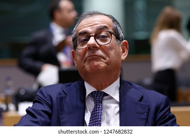 Brussels, Belgium. 3rd Dec 2018. Italian Minister of Economy and Finance Giovanni Tria attends in an Eurogroup finance ministers meeting at the EU headquarters.