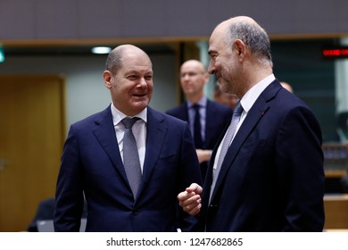 Brussels, Belgium. 3rd Dec 2018. Minister of Finance of Germany, Olaf Scholz  attends in an Eurogroup finance ministers meeting at the EU headquarters.