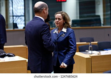 Brussels, Belgium. 3rd Dec 2018. Spanish Finance minister Nadia Calvino attends in an Eurogroup finance ministers meeting at the EU headquarters.