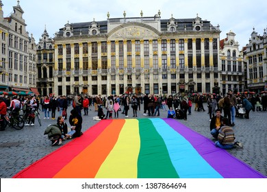 Brussels, Belgium. 3rd May 2019. People take part in opening ceremony of the Belgian Pride Festival.