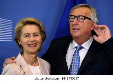 Brussels, Belgium. 4th July 2019.  Ursula von der Leyen , the nominated President of the European Commission is welcomed by European Commission President Jean-Claude Juncker.