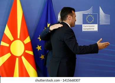 Brussels, Belgium. 4th June 2019. North Macedonia Prime Minister Zoran Zaev is welcomed by European commission President Jean-Claude Juncker ahead of their meeting.