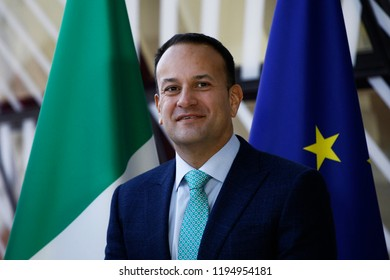 Brussels, Belgium. 4th October, 2018. Donald Tusk, the President of the European Council  welcomes the Irish Prime Minister Leo Varadkar at European Council headquarters.