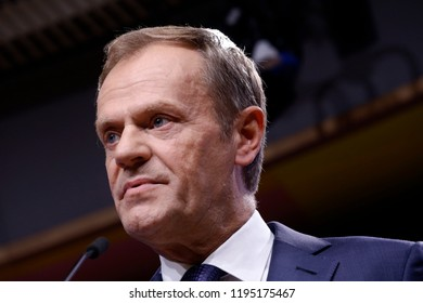 Brussels, Belgium. 4th October, 2018. Donald Tusk, the President of the European Council  and the Irish Prime Minister Leo Varadkar give a press conference at EU Council headquarters