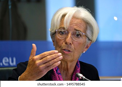 Brussels, Belgium. 4th Sep. 2019. Christine Lagarde, President-designate of the European Central Bank (ECB),  attends in a European Parliament's Committee on Economic Affairs at the EU Parliament .