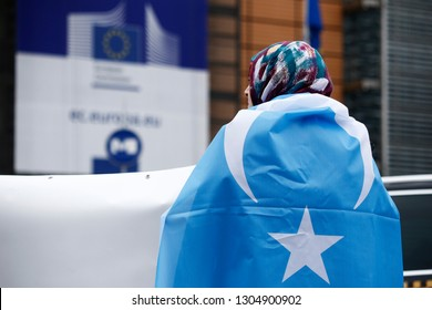 Brussels, Belgium. 5th Feb. 2019. Activists protest the treatment of Uyghur Muslims by Chinese authorities in Xinjiang province at a protest outside the headquarters of the European Union.