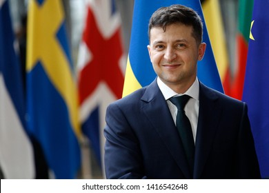 Brussels, Belgium. 5th June 2019. Ukrainian President Volodymyr Zelensky is welcomed by European Council President Donald Tusk ahead of their meeting.