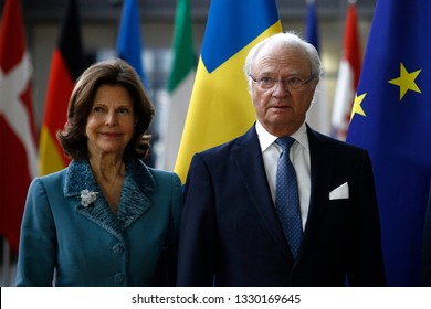 Brussels, Belgium. 5th March 2019. Swedish Queen Silvia and King Carl XVI Gustaf are welcomed by EU Council President Donald Tusk ahead of a meeting.