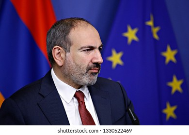 Brussels, Belgium. 5th March 2019. The Prime Minister of Armenia Nikol Pashinyan and the President of EU Commission Jean-Claude Juncker give a joint statement to the media following their meeting.