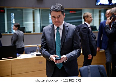 Brussels, Belgium. 5th November 2018. Finance Minister of Ireland Paschal Donohoe attends in Eurogroup finance ministers meeting at the EU headquarters